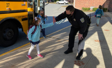 South Row Elementary School Officer High Five Day
